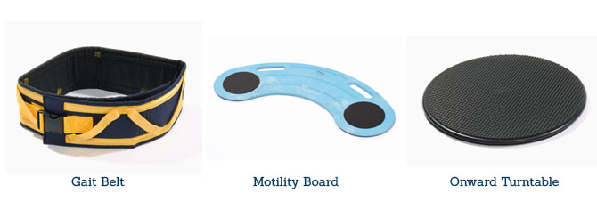 patient transer aids, medcare products, gait belt, motility board, onward turntable